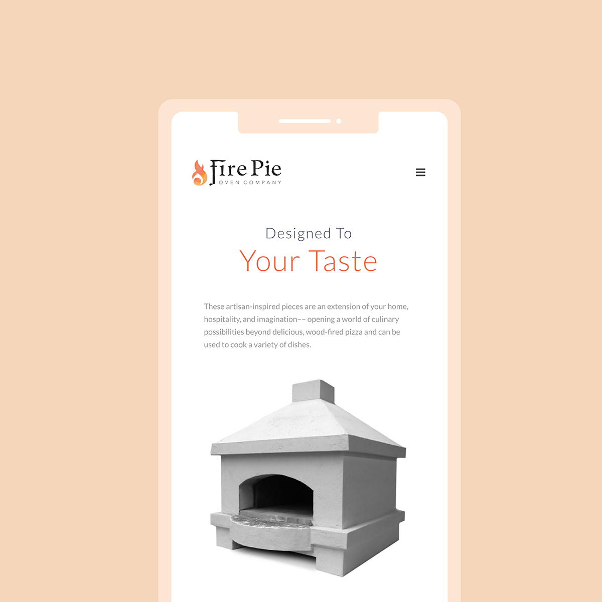 A screenshot of firepieovens.com webapge