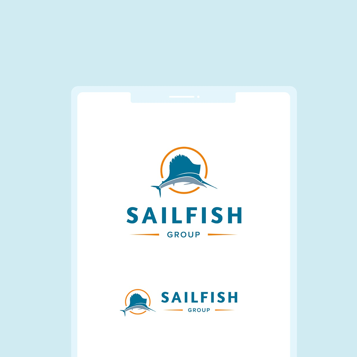 An image of both the vertical and horizontal layouts of the Sailfish Group's logo