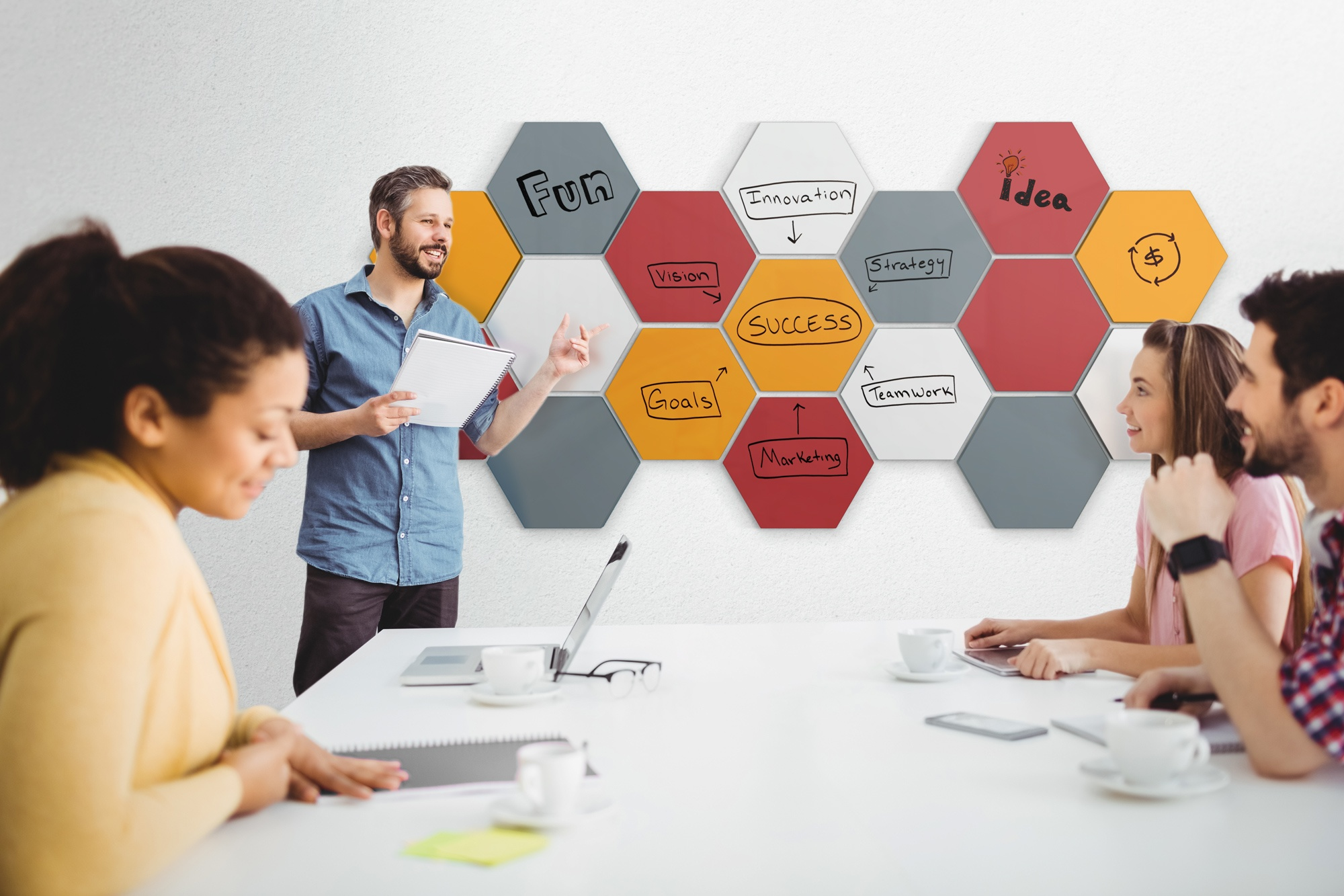 A photo of the product Hex in an meeting environment