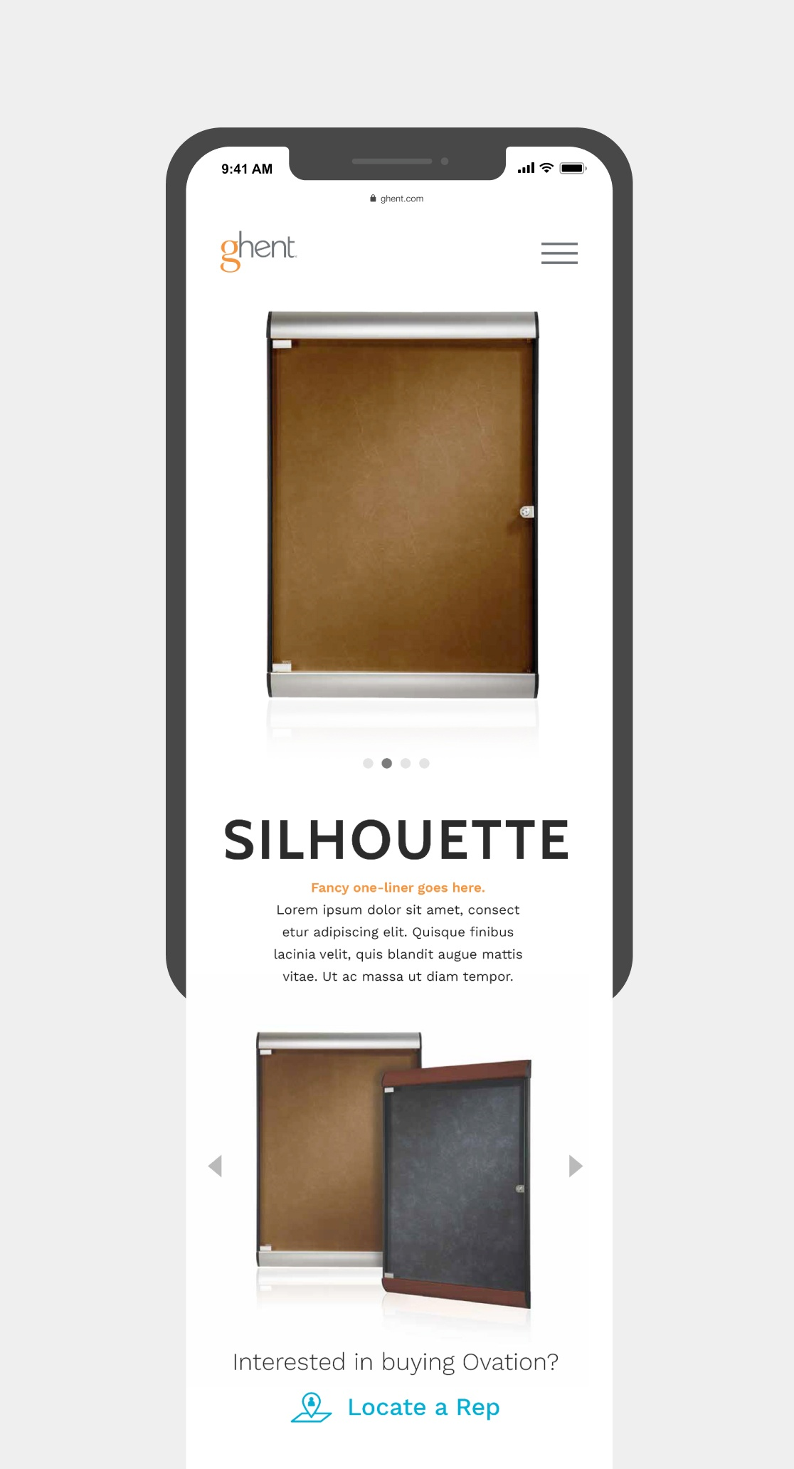A mobile screenshot design of a product landing page for ghent.com