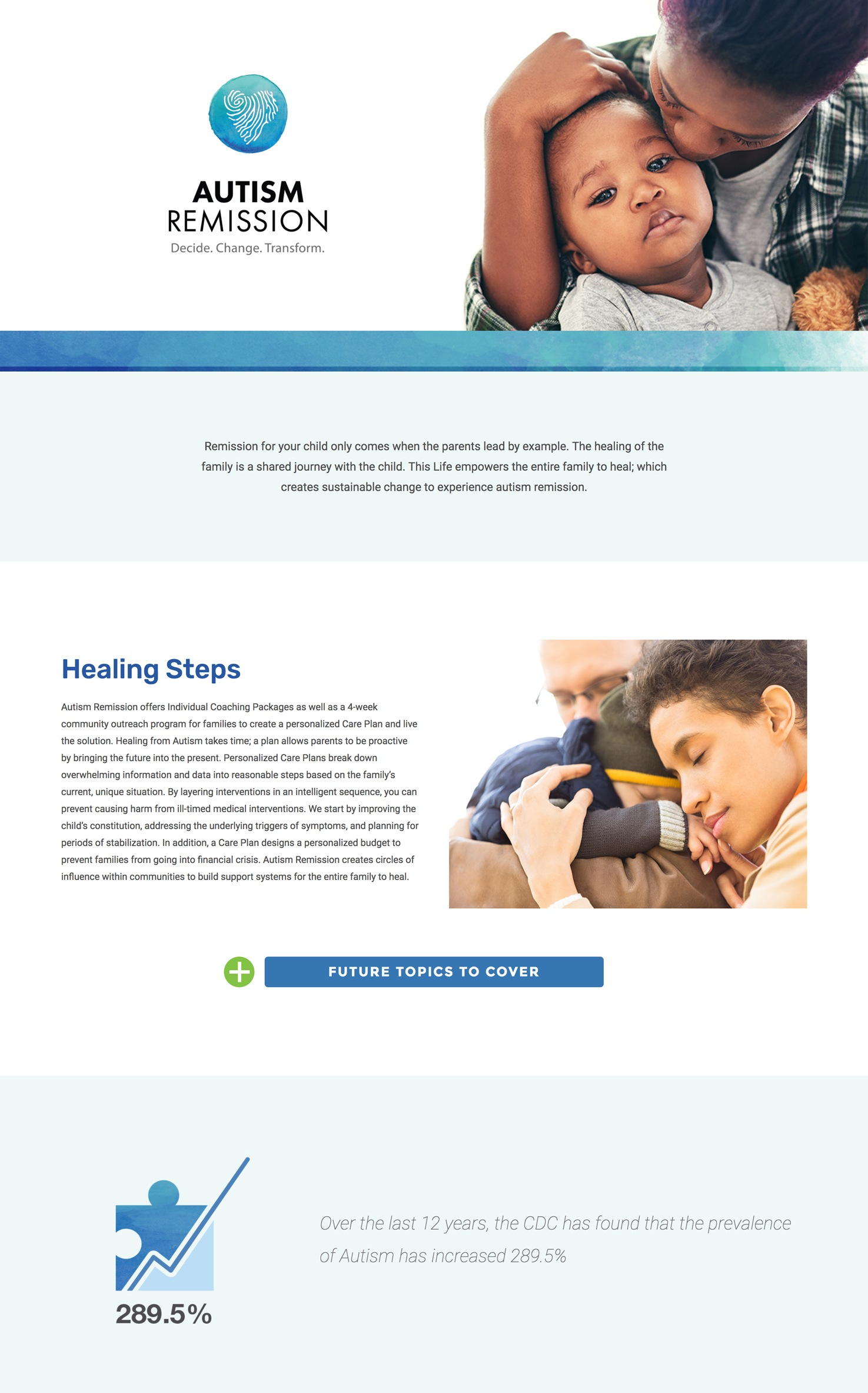 A screenshot of the autism remission landing page