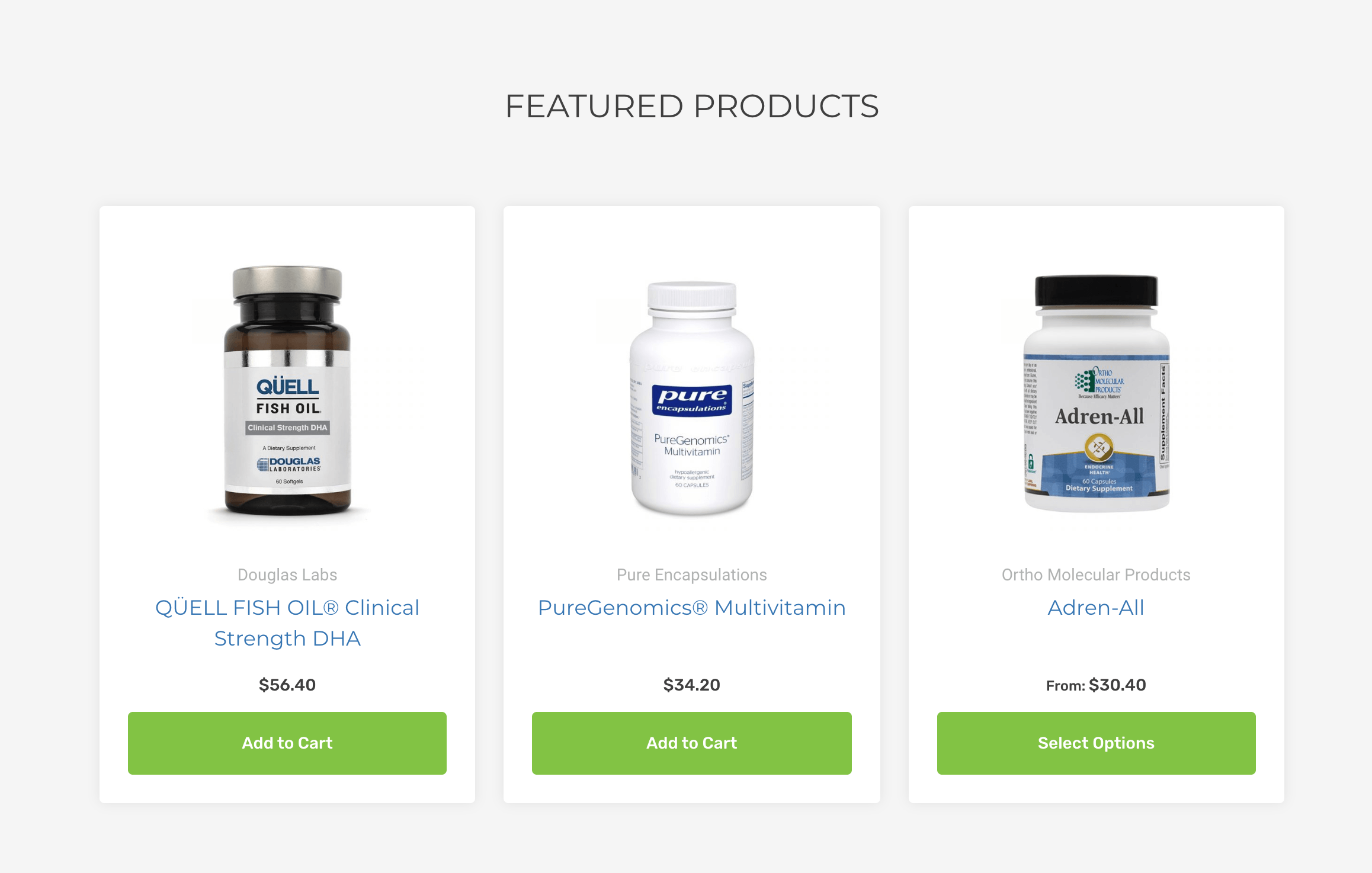 A screenshot of the featured products section on the homepage that includes three products