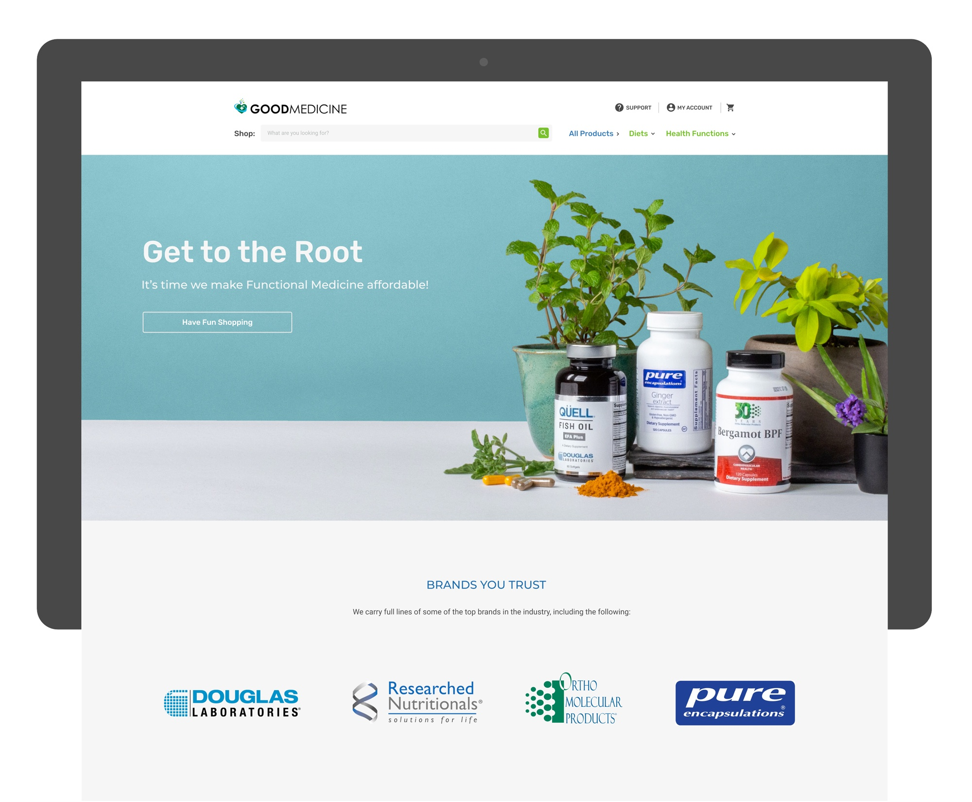 A screenshot of the homepage of thisisgoodmedicine.com