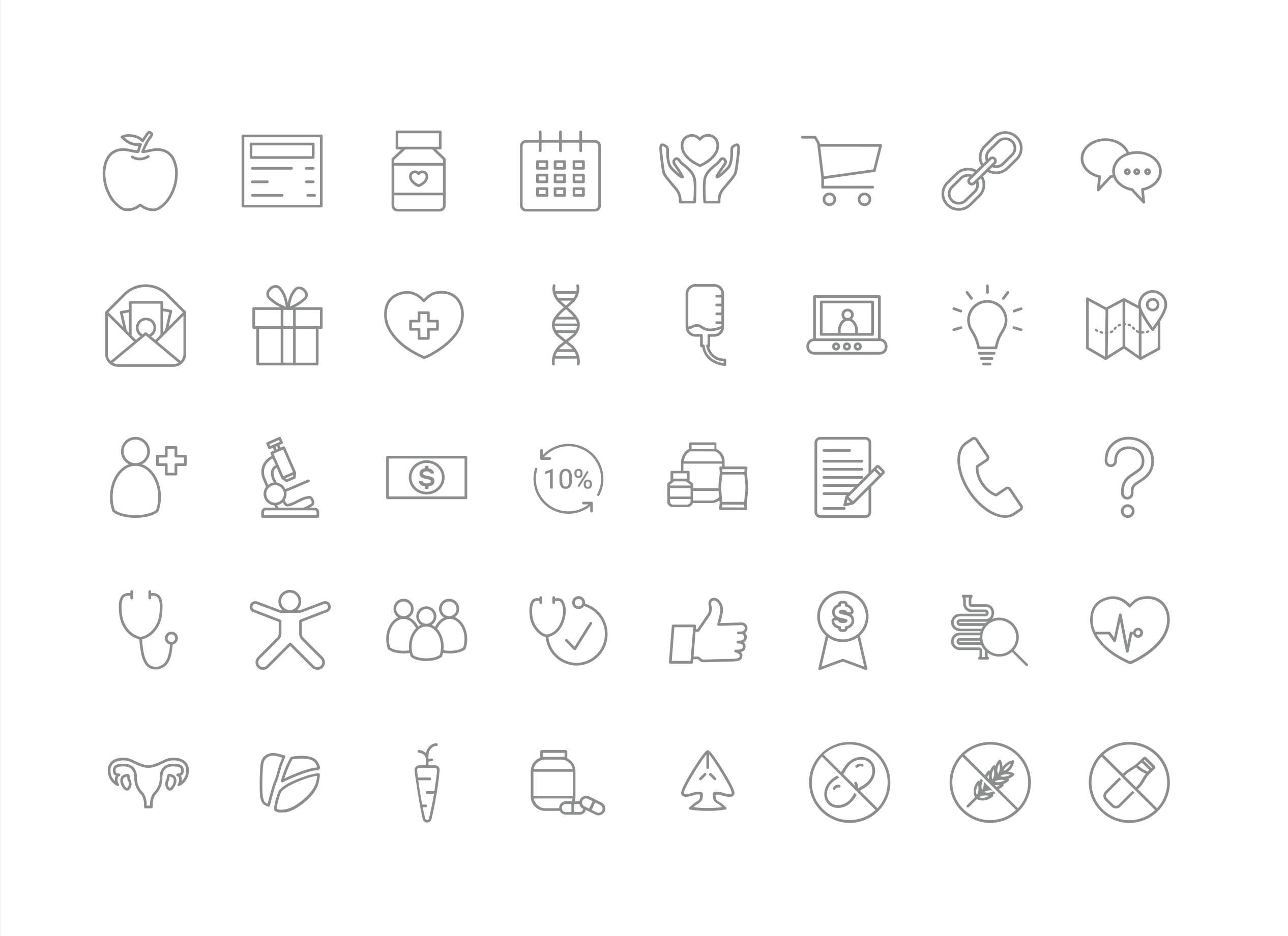 The full icon set for Good Medicine
