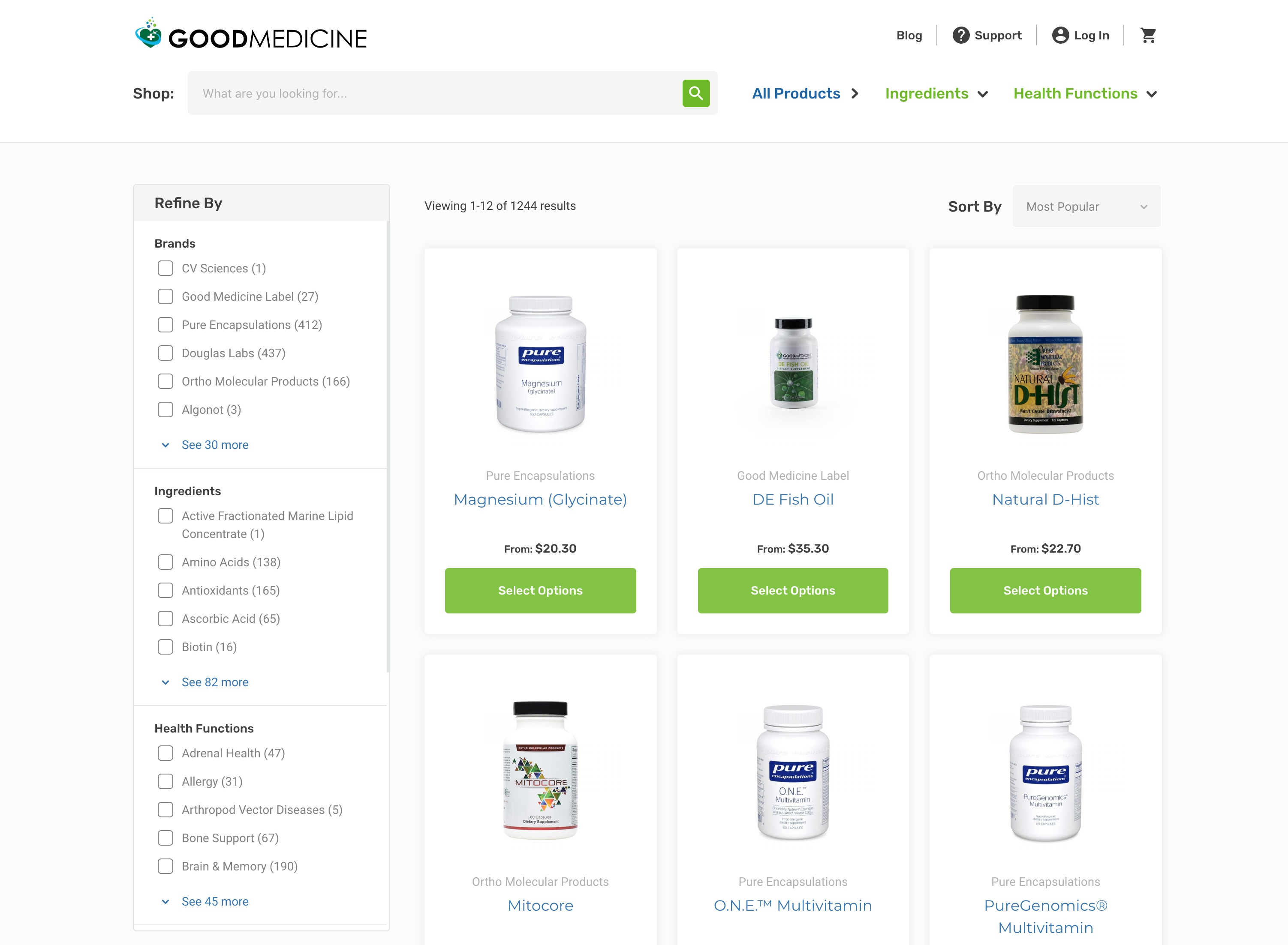 A screenshot of the products landing page
