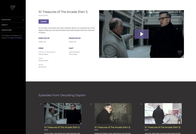 A screenshot of an episode landing page