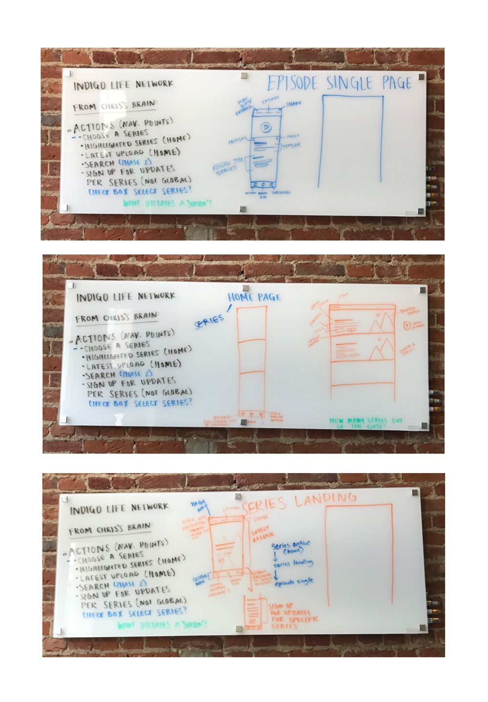 A photo of wireframe sketches on a whiteboard