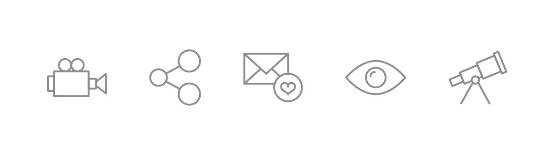 Icon set for the brand of Indigo Life Network