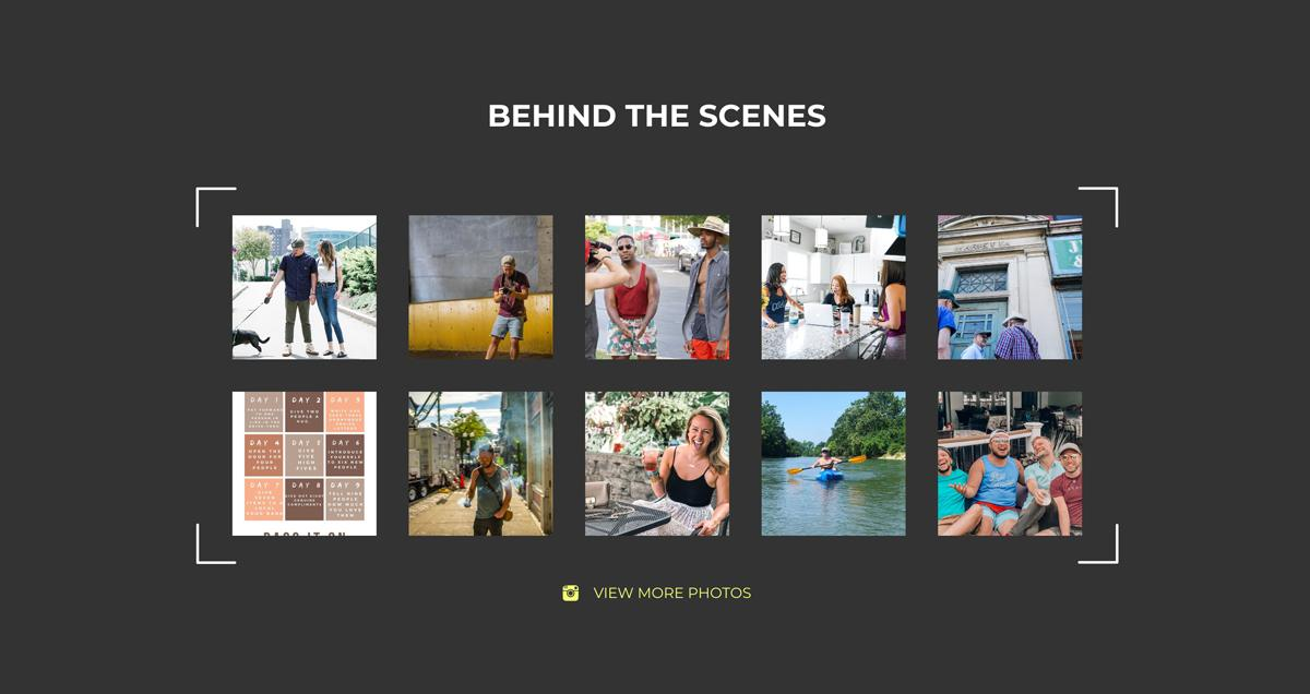 "A user interface element for Instagram feed, titled ""Behind the Scenes"""