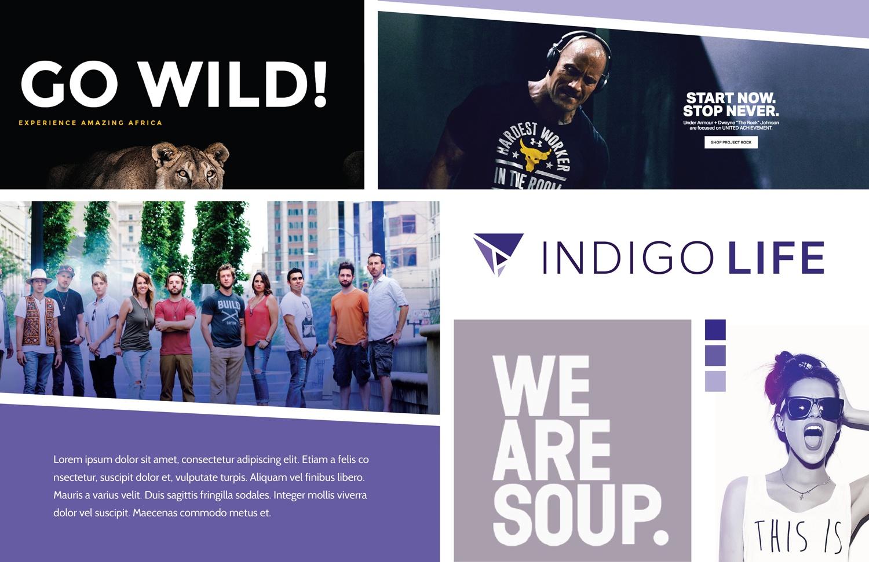 A vision board for Indigo Life's brand