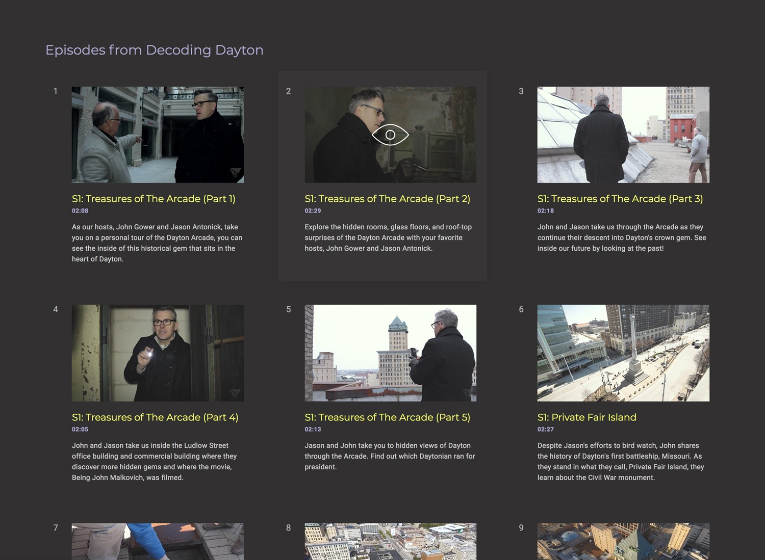 A screenshot of the section to see all episodes of a series