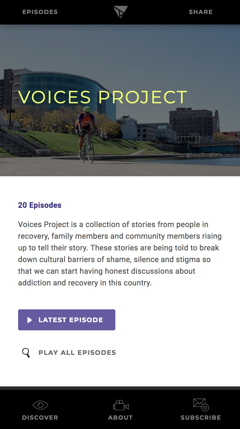 A mobile screenshot of a series landing, Voices Project