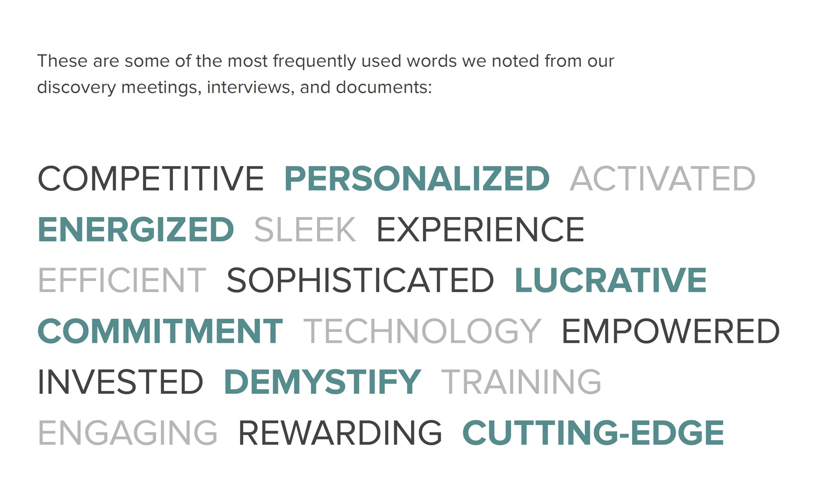 A slide showcasing the buzzwords used often within the brand