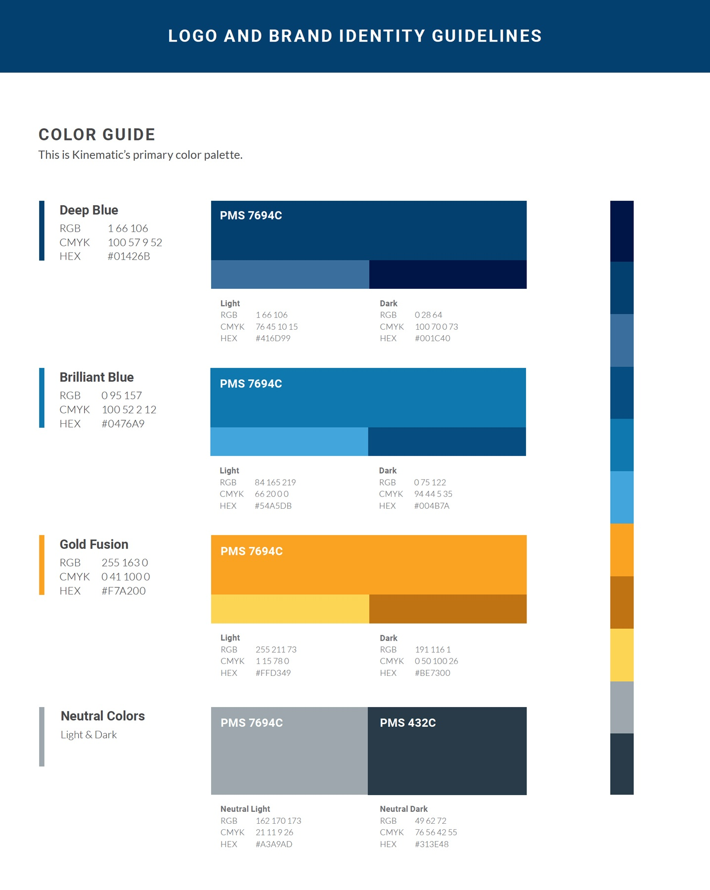 A color palette page design from brand guide