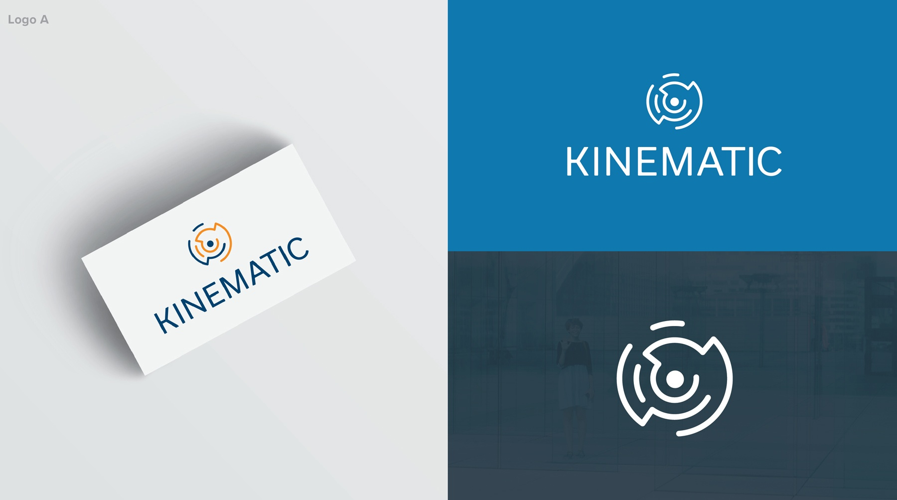 A screen of the vertical Kinematic logo on a business card
