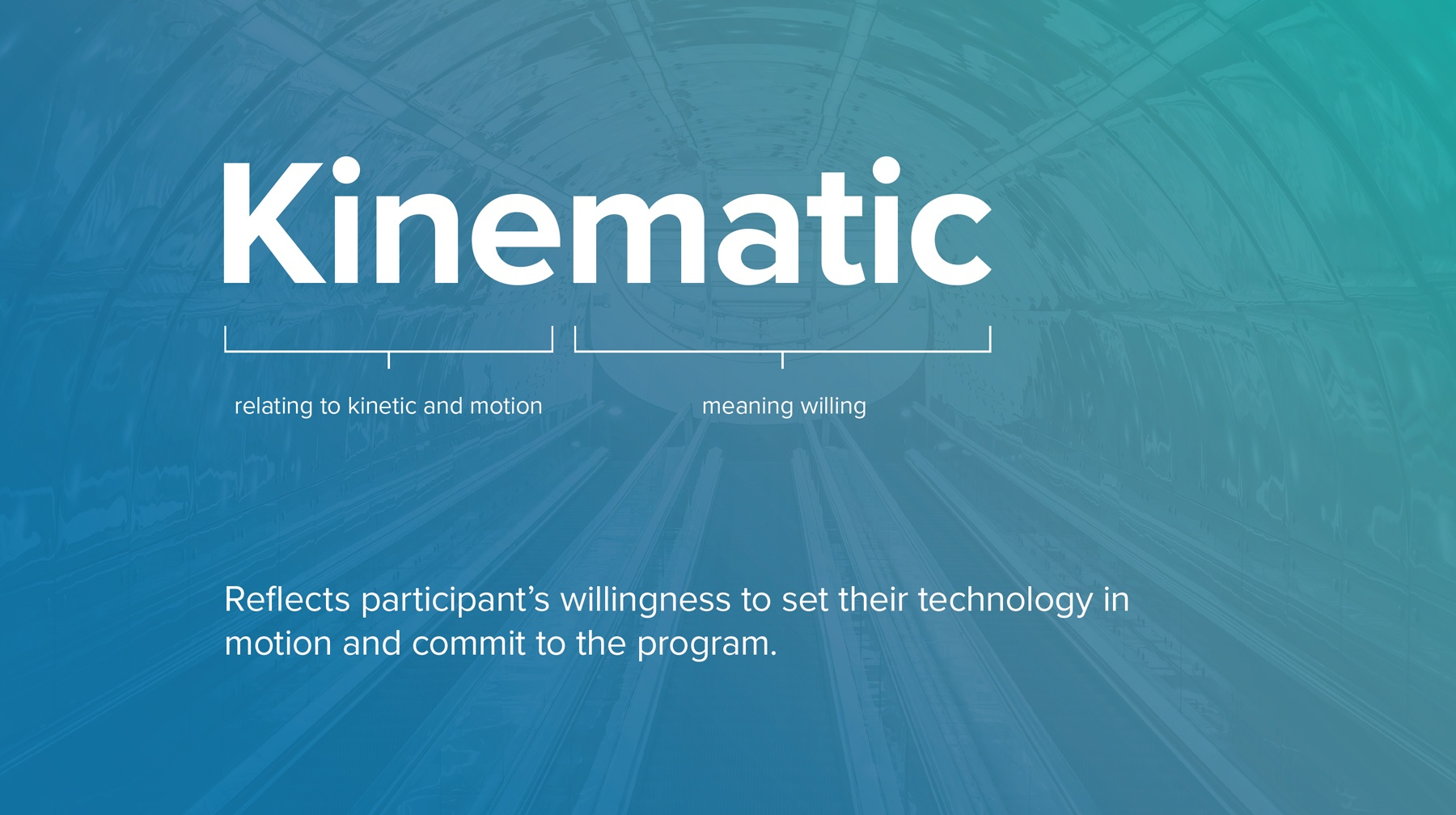 A screen explaining the reason for the name Kinematic