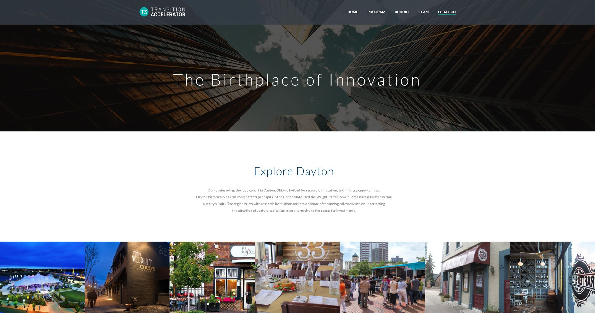 A screenshot of the location landing page