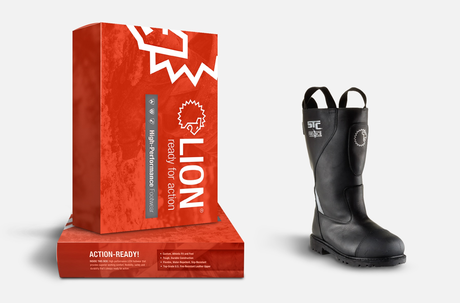 A photo of the LION boot next to the box package design