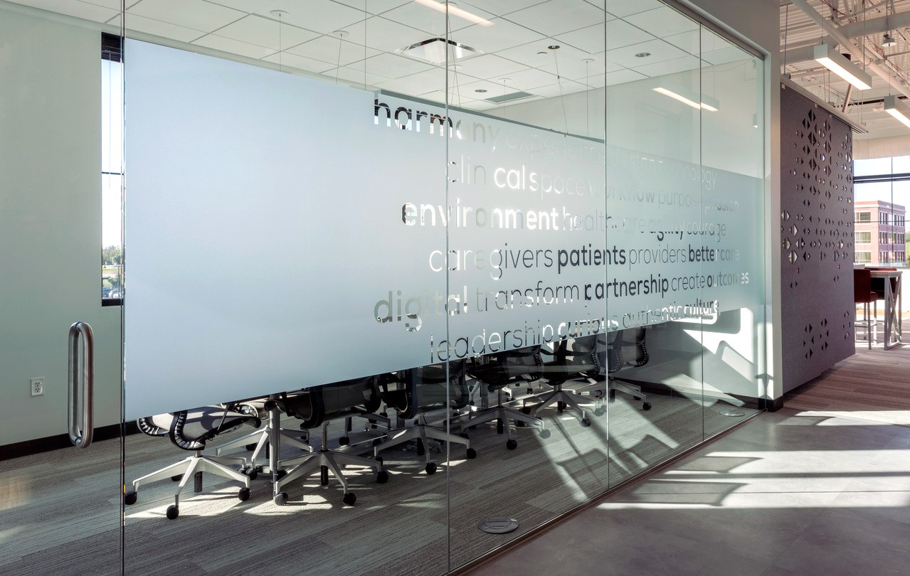 A photo of glass wall graphics for the conference room