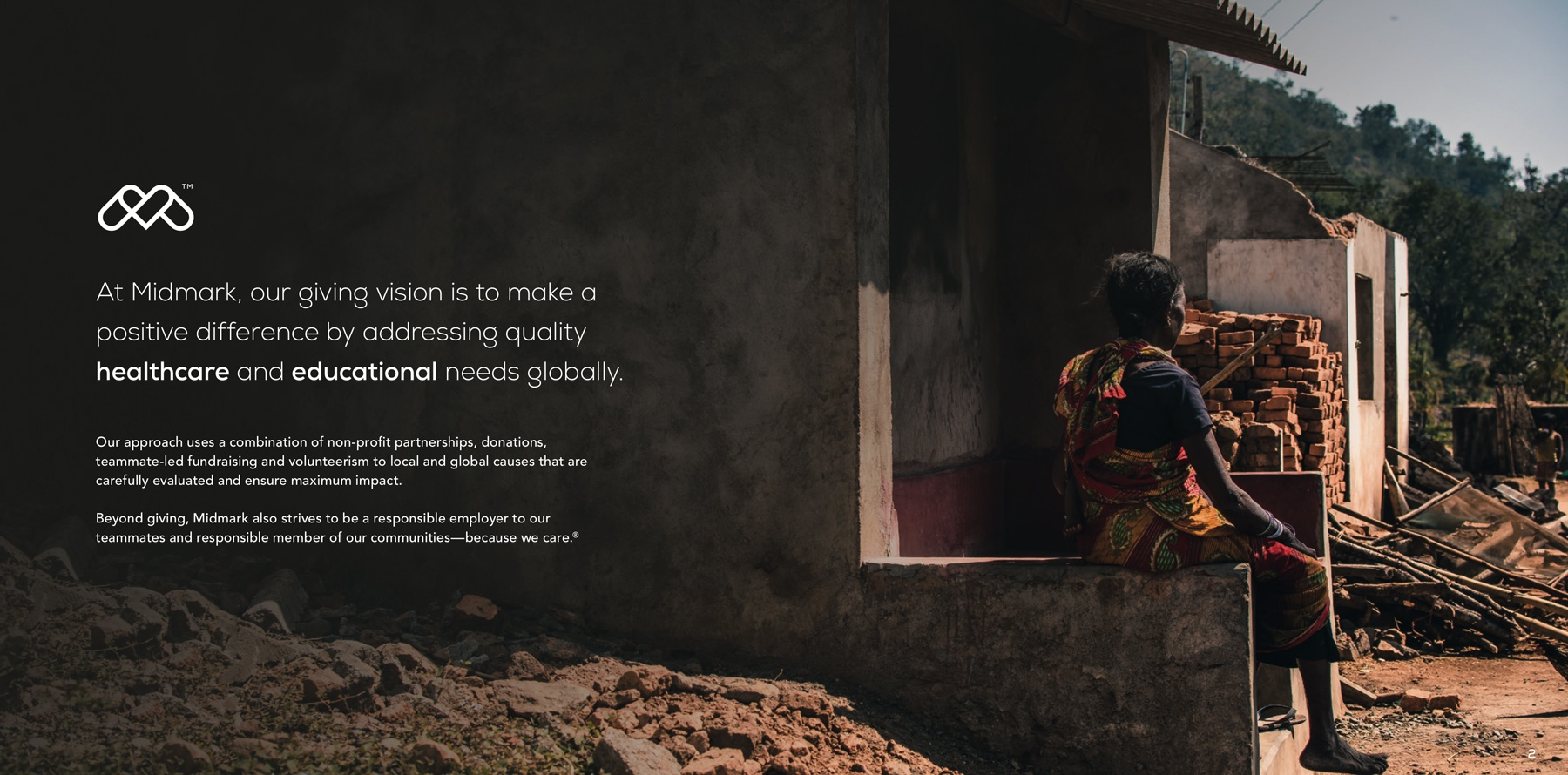 An example of a full page spread design in the social responsibility annual report