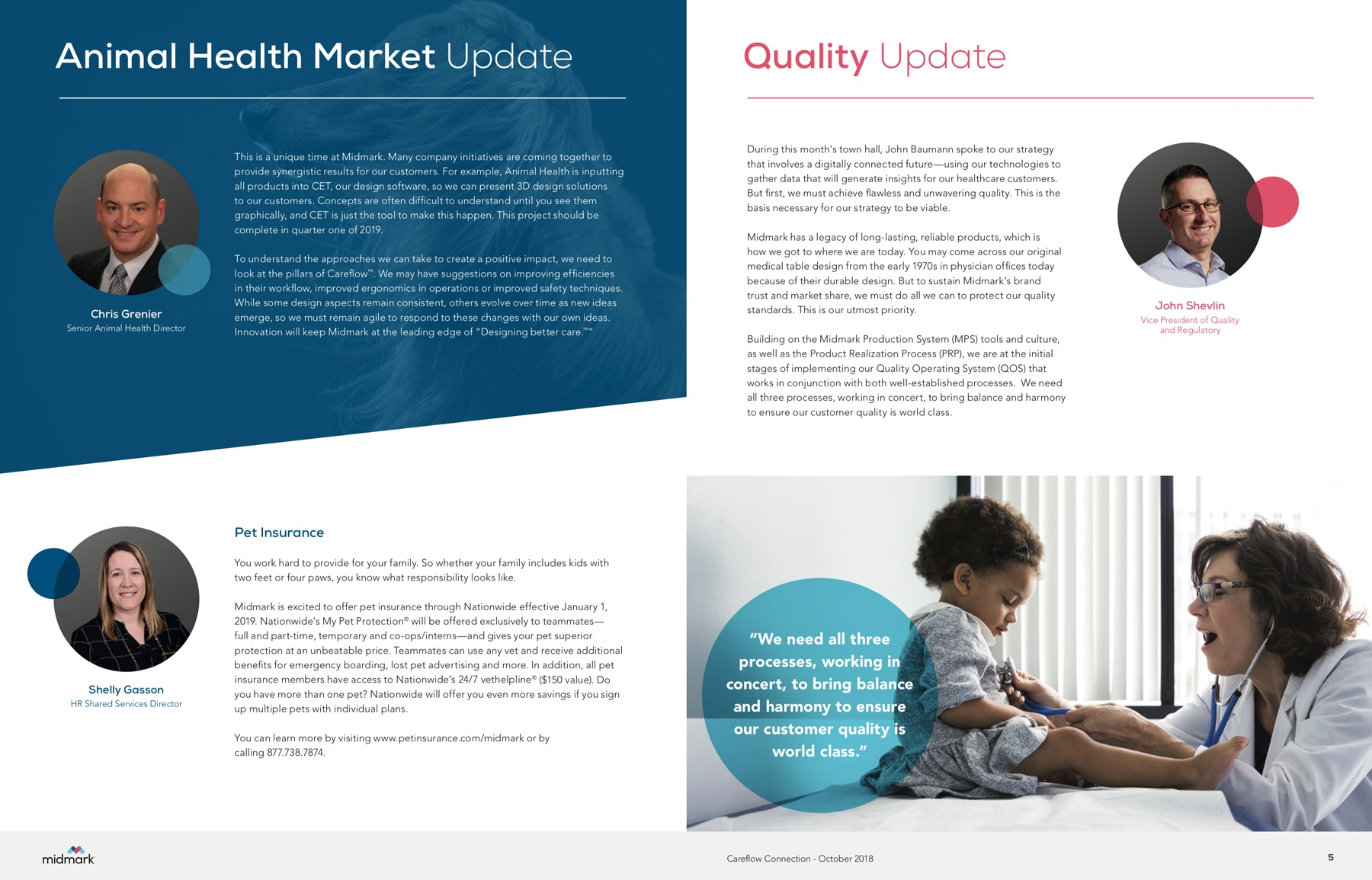 An example of a spread design in the monthly newsletter design