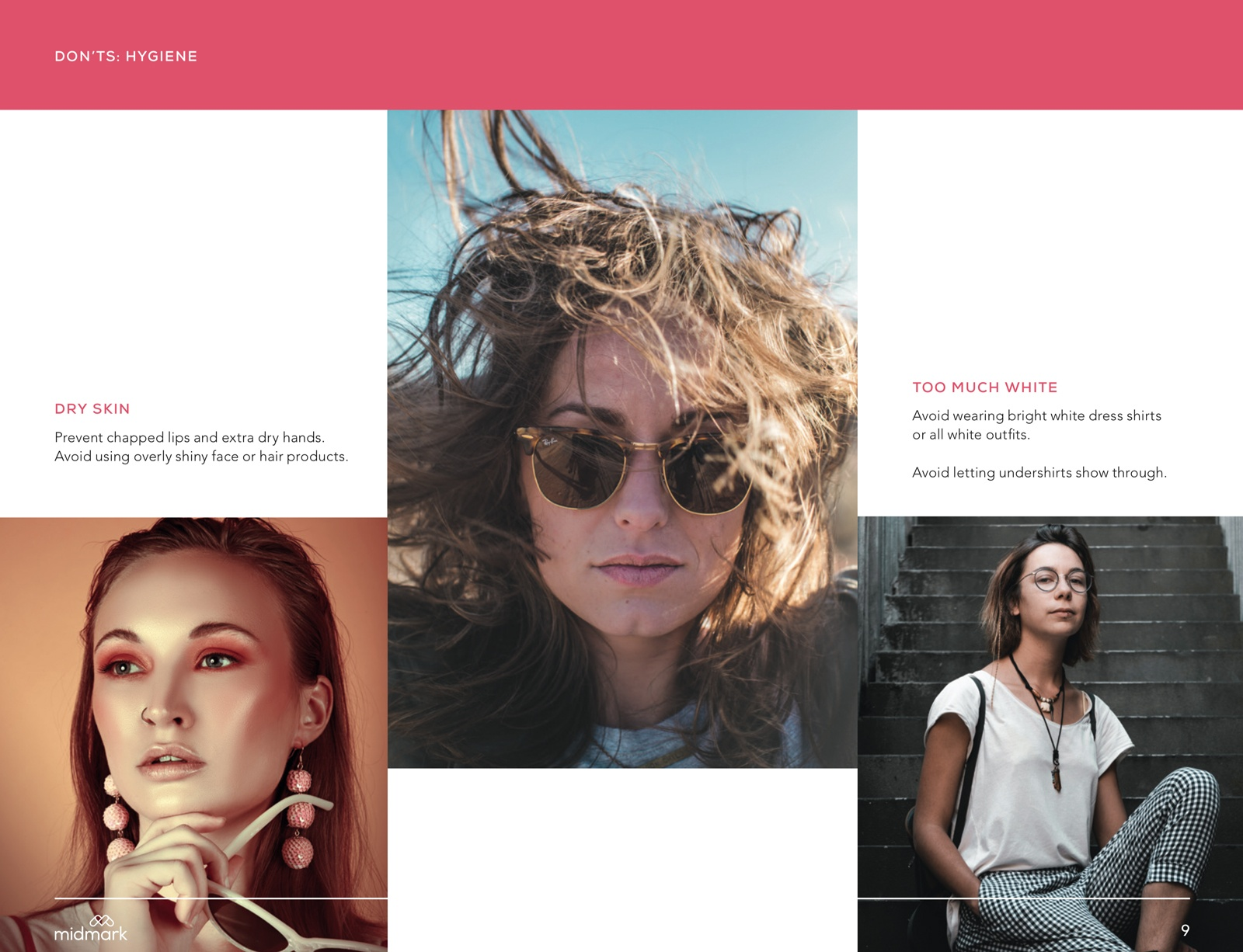 A page design from a photography guide for models