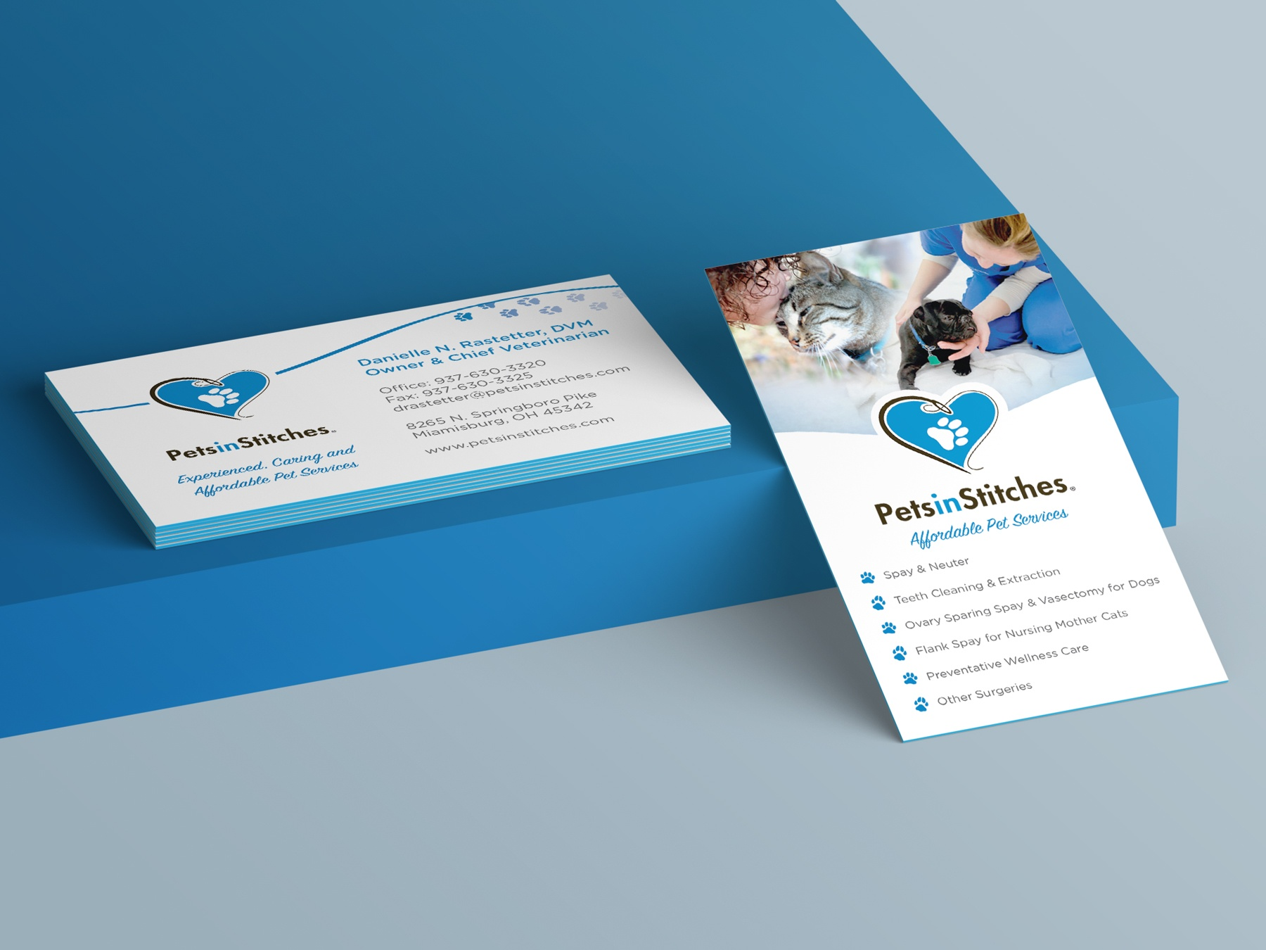 A photo of the business card design