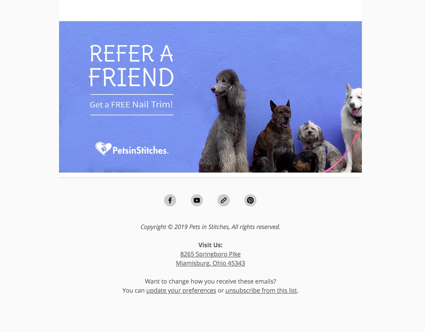 """A screenshot of the footer of an eblast titled """"Refer a Friend"""" with 4 dogs"""