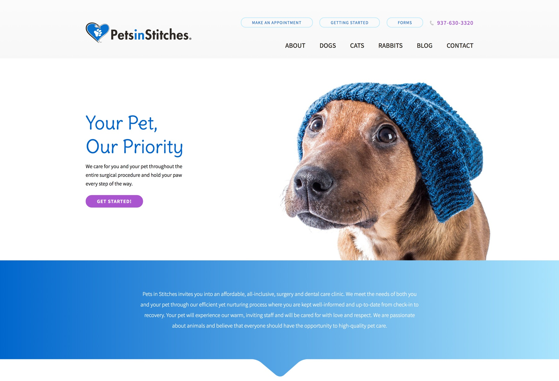 Pets In Stitches: Homepage