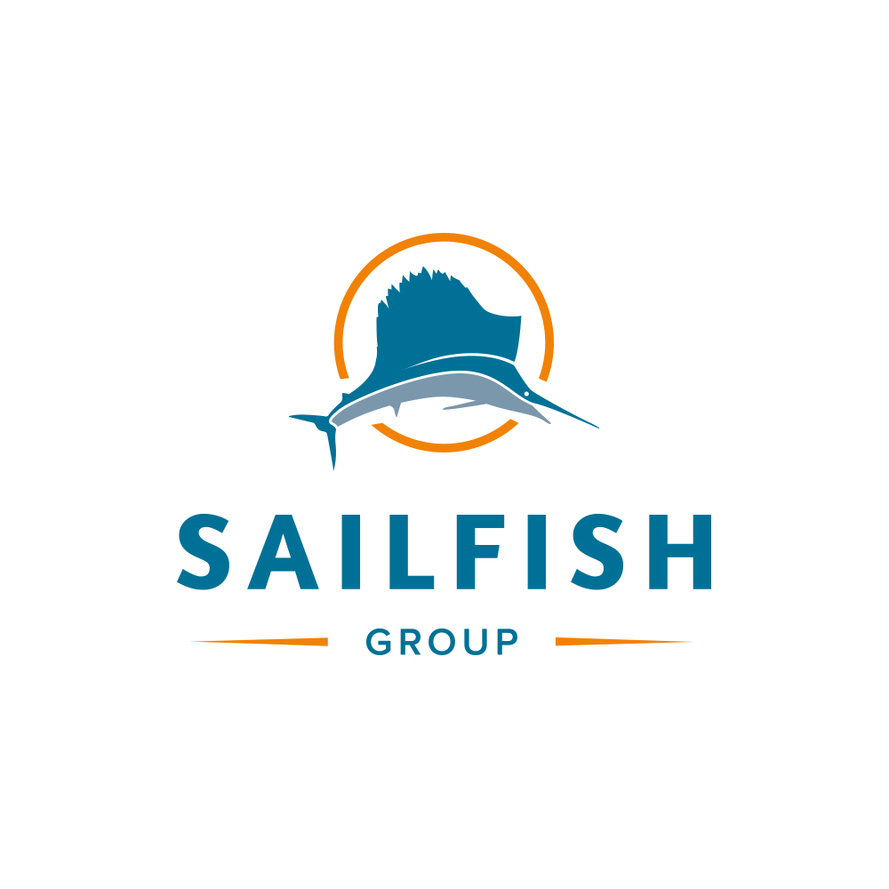 The vertical layout of the Sailfish Group logo