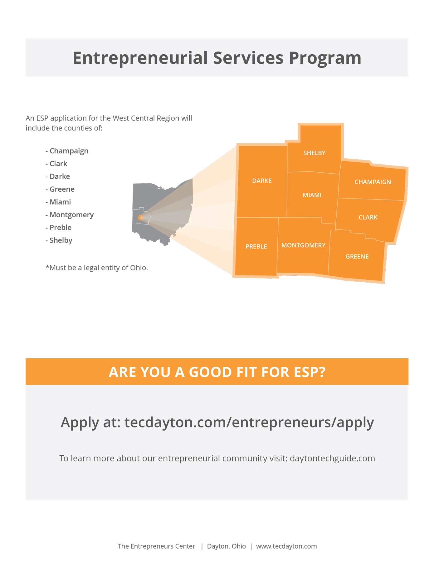 A graphic for the Entrepreneurial Services program identifying what counties are accepted