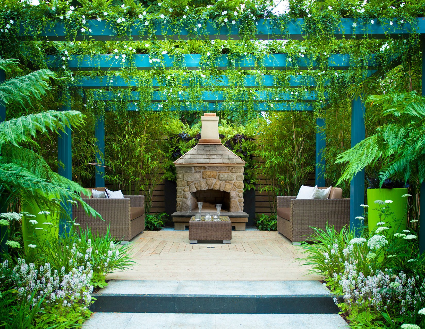 An outdoor photo of tropical environment with fireplace