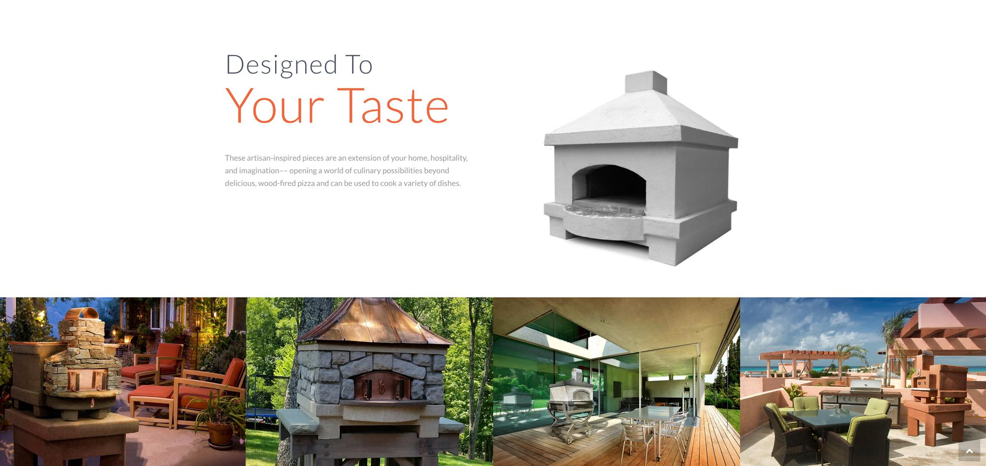 A screenshot of a oven landing page design