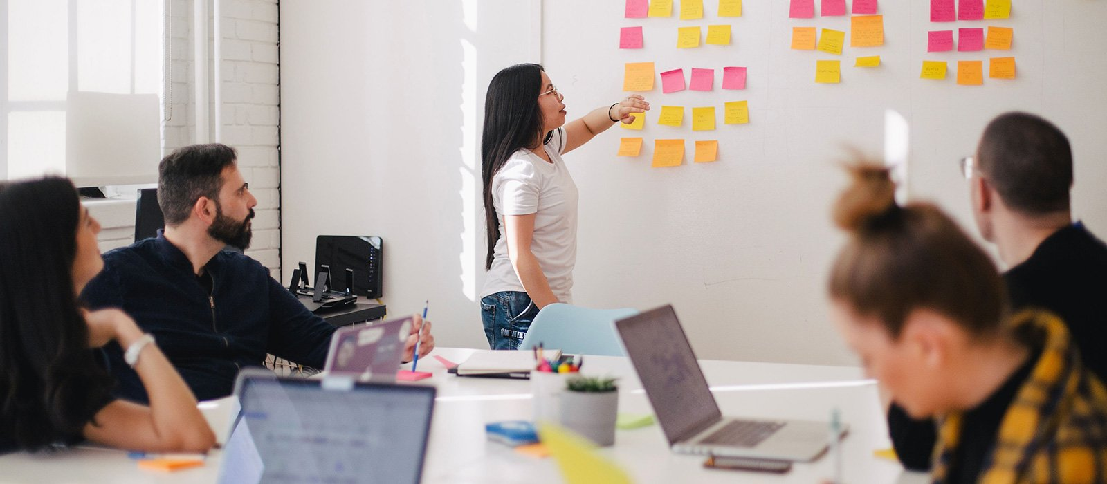 A team working with post-its on a whiteboard.