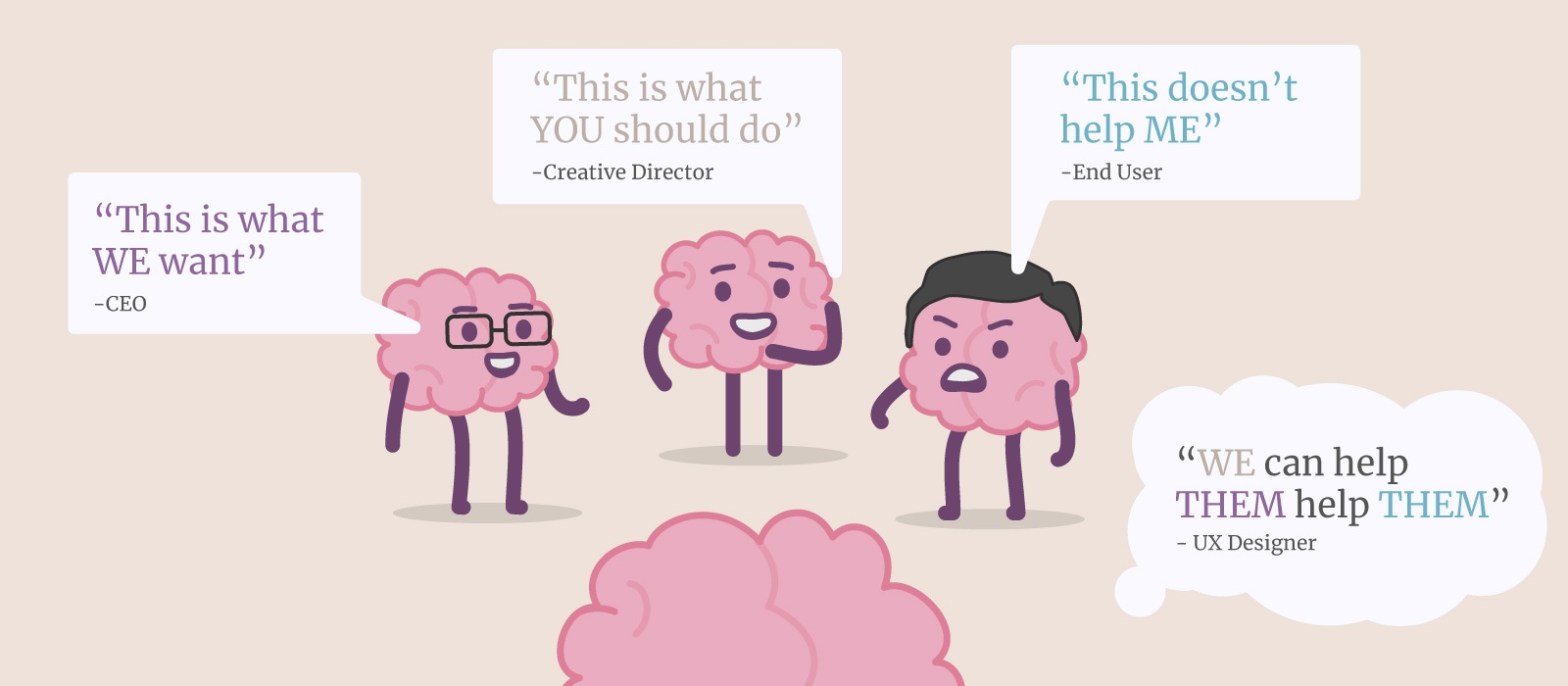 A group of illustrated brains representing the roles of CEO, creative director and client discussing how they think the user experience should flow.