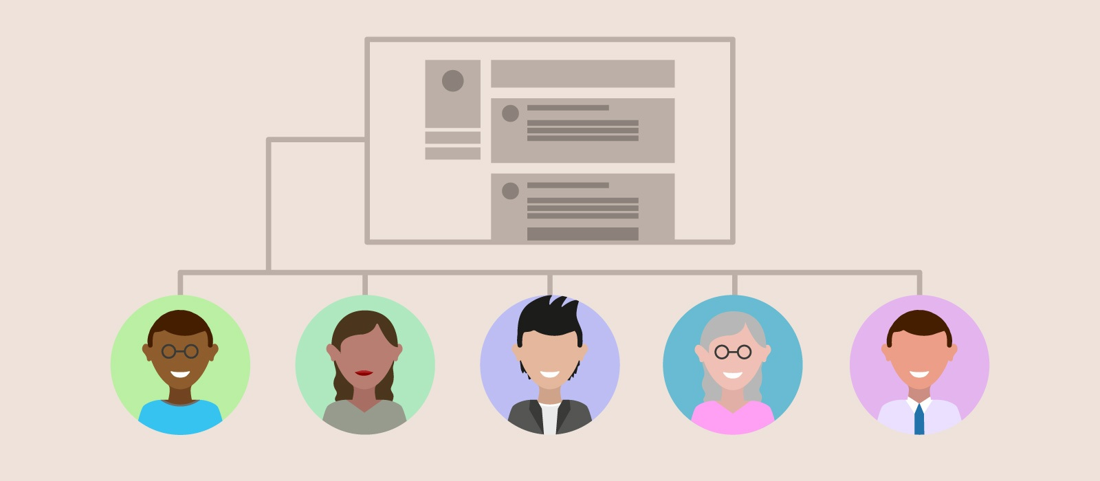 Illustration of a wireframe and how it applies to multiple user types.