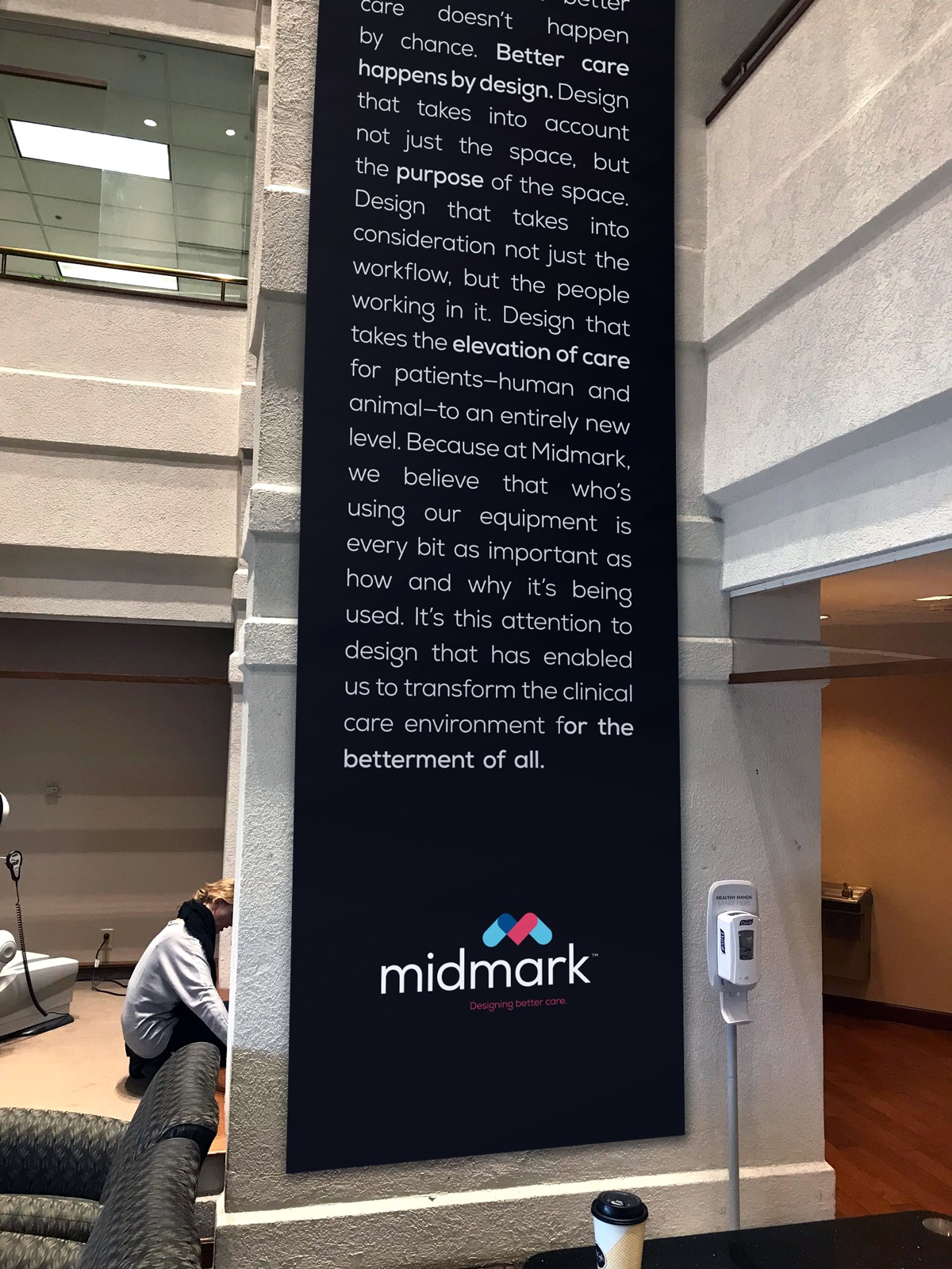 A wall column poster design in Midmark offices.