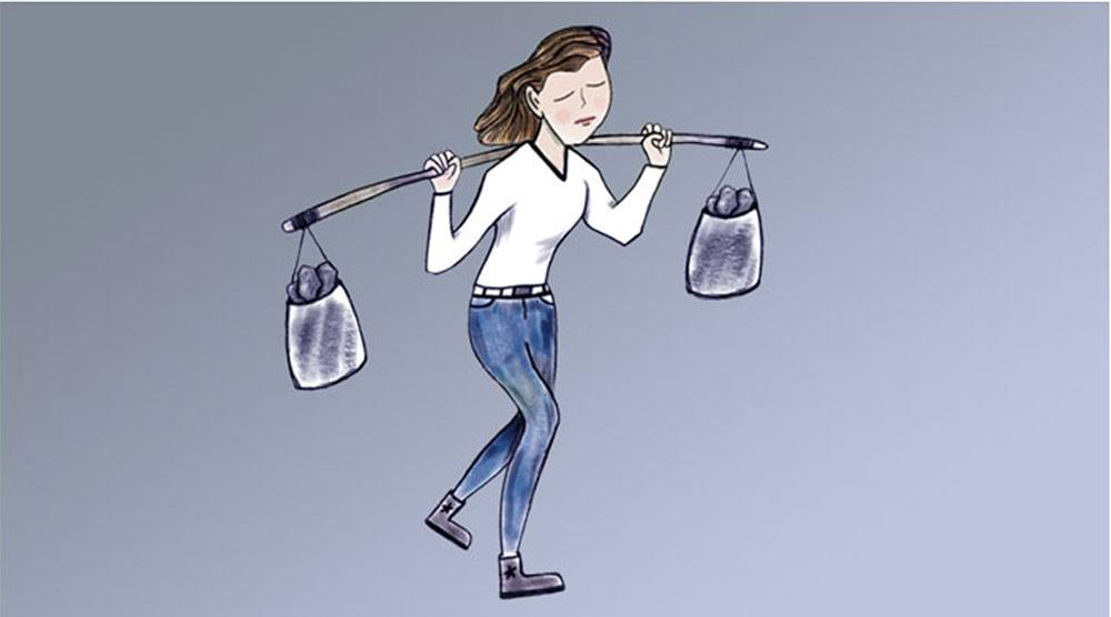 Illustration of a gal holding a bar with two backs of heavy rocks on each end.